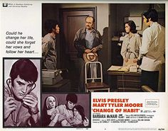 Elvis Presley and Mary Tyler Moore in Change of Habit Barbara Mcnair, Change Of Habit, Mary Tyler Moore, Elvis Presley, Fictional Characters, Usa, Fantasy Characters, U.s. States