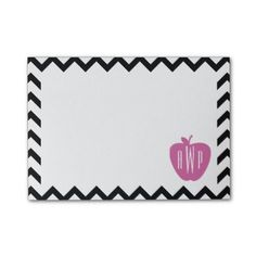 Black Chevron Pink Apple Monogram Teacher Post-it Notes by The Pink Schoolhouse