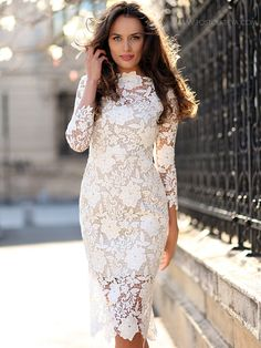 Must Have Lady Fashion Hollow Out Flowers Lace Slim Dress_Fcplaza.com