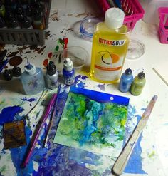 Last year a Citra Solv representative sent me a bottle of Citra Solv encouraging me to try it in my art. I've finally gotten around to giving it a go. Having fun and liking the effects using Citra...