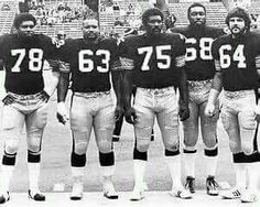 #78 Dwight White, #63 Ernie Holmes, #75 Mean Joe, #68 L.C. Greenwood; and although not considered within the Steel Curtain #64 Steve Furness.