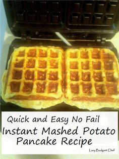 How to make mashed potato pancakes in a waffle maker! A pantry ingredient comfort food recipe that uses instant mashed potatoes! Mashed Potato Patties, Mashed Potato Pancakes, Mashed Potato Recipes, Instant Mashed Potatoes, Making Mashed Potatoes, Fresh Potato, Potato Bag, Waffle Maker Recipes, Recipe Pantry