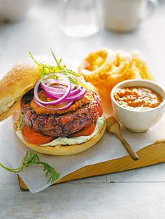 This vegetarian burger recipe, made with beetroot, apple, fennel and dill, comes from Mildreds restaurant in Soho, London.
