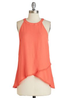 Podcast Party Top in Coral. Recording new episodes always feels like a party, and youre dressed to impress in this yoke-necked top and your fave skinnies. #orange #modcloth
