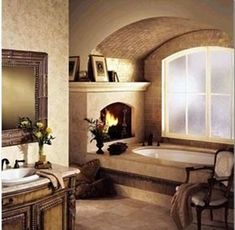 With this fireplace, I'd never be cold when getting out of the bathtub!