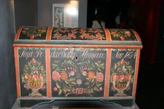 Old Rosemaled trunk, black/orange Interesting piece.