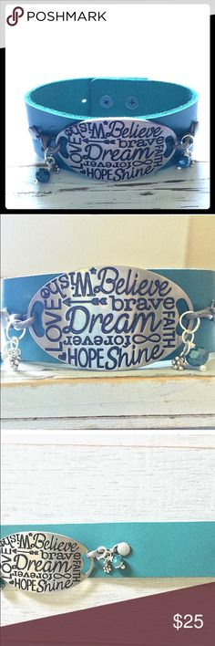 NEW TEAL & SILVER LEATHER BRACELET NEW, HANDCRAFTED. SILVER & TEAL LEATHER BRACELET WITH INSPIRATIONAL WORDS. Adorned by Amie Jewelry Bracelets