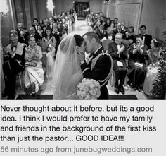 Wedding photo angle during kiss with family and friends in the background. I sti… Wedding photo angle during kiss with family and friends in the background. I still want the other angle of the Priest and Decon. Love this idea. Cute Wedding Ideas, Wedding Goals, Wedding Pics, Perfect Wedding, Our Wedding, Dream Wedding, Wedding Stuff, Kids In Wedding, Elegant Wedding