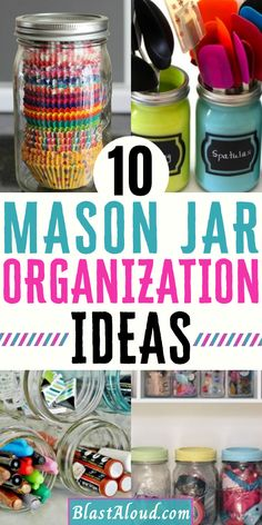 Household Organization, Planner Organization, Organizing Ideas, Closet Organization, Kitchen Organization, Creative Storage, Storage Ideas, Mason Jar Crafts, Mason Jars