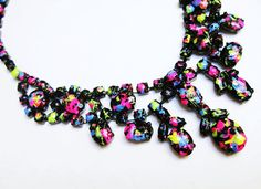 bib necklace hand painted black Neon Splash black pink yellow