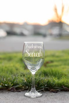 """Personalized Bridesmaid Glasses with Names and Wedding Date - Choose from 1, a Set of 2, Set of 3, Set of 4, or Set of 5 or Set of 6. You chose her to be by your side, just as she always has been, on your special day. Show her how much she means to you not just as your bridesmaid, but as your friend. This wine glass is personalized with beautiful, curly, feminine font that reads """"bridesmaid"""" and her name. It holds up to 20 ounces which allows room for wine, a mixed cocktail, or any drink…"""