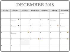 December 2017 Calendar With Moon Phases >> 16 Best Full Moon December 2018 Calendar Moon Phases Images