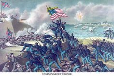 African American unit, the 54th Massachusetts overruns Fort Wagner - Art Print  #9785872326175 #Buyenlarge #CivilWar #New #USA