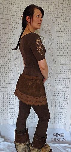 MINI BROWN SKIRT tutu pixie tribal romantic gypsy by SINDdesign