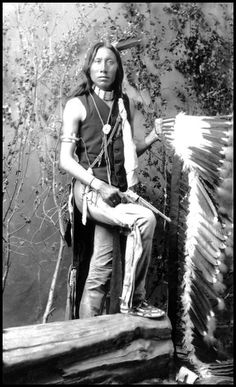 Yellow Eyes, an Arapaho man. Photographed between 1880-1890.