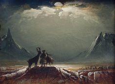 Sami with Reindeer Under the Midnight Sun by Peder Balke, (c.1850)