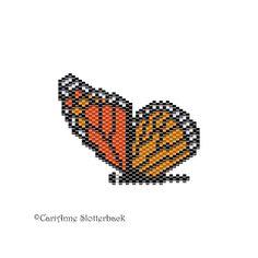 Monarch Butterfly Pendant peyote pattern by NaturalWondersbyCari