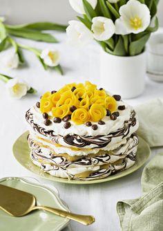 Mango-sitruunamarenkikakku |K-Ruoka No Bake Desserts, Dessert Recipes, Finnish Recipes, Easter Recipes, Easter Food, Chocolate Cheesecake, Sweet Cakes, Cream Cake, Yummy Cakes