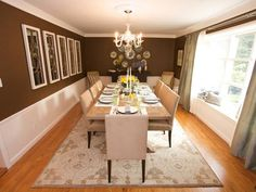 Chocolate-Colored Walls w/ Wainscoting: Love this casual-elegant Dining Room w/ a built-in window seat. http://www.hgtv.com/designers-portfolio/room/contemporary/bedrooms/8132/index.html#/id-7321/room-dining-rooms/style-traditional?soc=pinterest