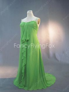 fancyflyingfox.com Offers High Quality Emerald Green Chiffon Spaghetti Straps Full Length Plus Size Prom Dresses With Ruffles ,Priced At Only US$185.00 (Free Shipping)