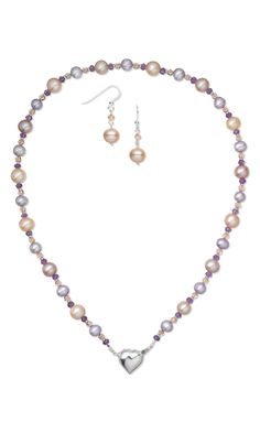 Single-Strand Necklace and Earring Set with Cultured Freshwater Pearls, Swarovski Crystal Beads and Amethyst Gemstone Beads - Fire Mountain Gems and Beads