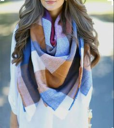multicolored plaid scarf and white shirt