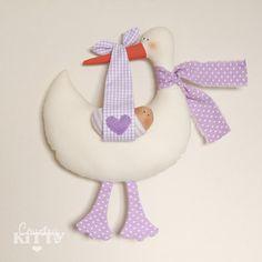 Stork softie newborn decoration - Fiocco nascita cicogna lilla/lavanda - customisable name - baby girl - lavender via Etsy