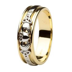 Celtic Aer Gift Shop: Men's / Gents Claddagh and Trinity Knot Diamond Wedding Ring