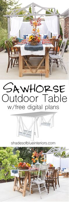 Sawhorse outdoor patio or dining table made from reclaimed planks and 2x4s.