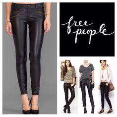 """Free People Black Faux Leather Skinny Jeans.  NWT. Free People Black Faux Leather Moto Zip Skinny Jeans, 100% polyurethane, machine washable,33"""" waist, 10"""" front rise, 14.5"""" back rise, 28.5"""" inseam, 11.5"""" leg opening, 5.5"""" side ankle zip, five pockets, belt loops, button fly with button front closure, measurements are approx. ...No Trades... Free People Jeans Skinny"""