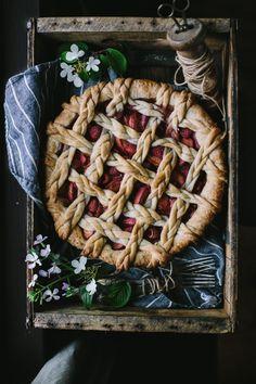 Golden Syrup Peach + Raspberry Pie With White Chocolate Mascarpone