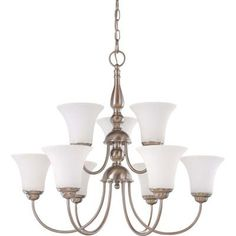 Glomar 9-Light Brushed Nickel 2-Tier Chandelier with Satin White Glass Shade-HD-1823 - The Home Depot