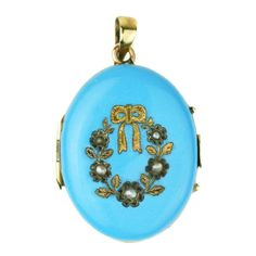 1stdibs.com | Victorian Blue Enamel, Seed Pearl, and Gold Locket