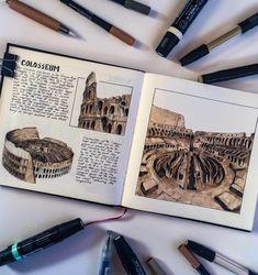 Colosseum by Oğuzhan Çengel Sketchbook Layout, Gcse Art Sketchbook, Travel Sketchbook, Kunstjournal Inspiration, Sketchbook Inspiration, Architecture Journal, Architecture Art, Architecture Drawing Sketchbooks, Art Diary