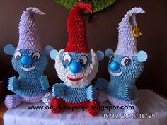 www.origami-pasja.blogspot.com: Smerfy - origami modułowe ( Papa Smerf, Ważniak i ...