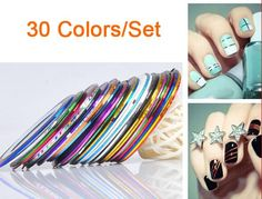[Visit to Buy] 30 colors rolls striping tape line nail art sticker tools beauty decorations for on nail stickers #Advertisement