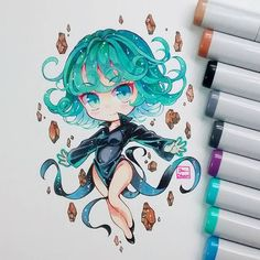 Tornado from One Punch Man Kawaii Chibi, Cute Chibi, Kawaii Art, Kawaii Anime, Copic Drawings, Kawaii Drawings, Cute Drawings, Manga Drawing, Manga Art