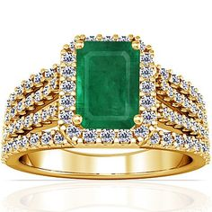14K Yellow Gold Emerald Cut Emerald Ring With Sidestones -