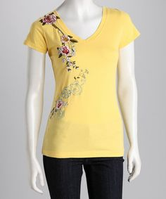 Look at this #zulilyfind! Yellow Embroidered Flower Tee by Bella Carra #zulilyfinds