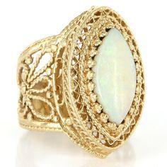 Vintage 14 Karat Yellow Gold Opal Large Cocktail Ring Fine Estate Jewelry
