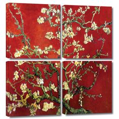 'Interpretation in Red Almond Blossom' by Vincent Van Gogh 4 Piece Painting Print Gallery-Wrapped on Canvas Set