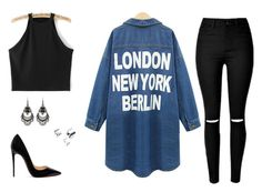 """""""Black #11"""" by vieirakarol ❤ liked on Polyvore featuring Christian Louboutin and Free Press"""