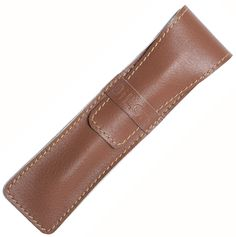 DiLoro Full Grain Leather Single Pen Case Holder Tan