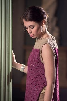 Grand Cerf lace sleeveless knit tunic. Designed by Emma Wright for The Fibre Co.