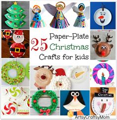 Do you love paper plate crafts too? Sharing 25 Easy Paper Plate Christmas Crafts for kids - Includes paper plate craft trees, bells, reindeer, Santa Claus, elves, Frozen Olaf , penguins & wreaths. Fun activities for all kids. Check out the post for lots of ideas to kids busy till Christmas.