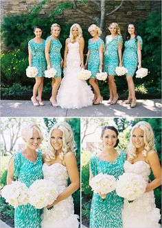 Adorable, chic teal and white bridesmaid dresses
