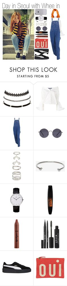 """""""Day in Seoul with Whee in"""" by yonce4park ❤ liked on Polyvore featuring Charlotte Russe, Jacquemus, Forever 21, Alexander McQueen, Rimmel, tarte, Stila, Puma and Clare V."""