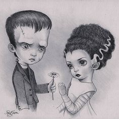 "I watched ""The bride of Frankenstein"" in 2011 and now is one of my favourite movies. I watch it every year for Halloween along with Hocus Pocus. Hope you like my interpretation Raul Guerra Illustrations, Illustration Art, Bride Of Frankenstein, Frankenstein Tattoo, Frankenstein's Monster, Classic Monsters, Creepy Cute, Scary, Werewolf"