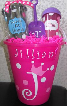 Cute gift idea for my daughter on our family summer beach vacation. Could add more goodies! :)