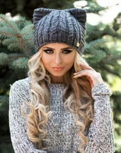 Gray cat ears hat with fleece grey pussy hat ear hat gray Knitting Patterns Free, Crochet Patterns, Knit Crochet, Crochet Hats, Knitted Cat, Ear Hats, Winter Hats, Cat Ears, Dark Grey